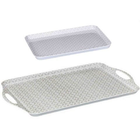 Grey Geometric Snack Meal or Drinks Serving Tray Set